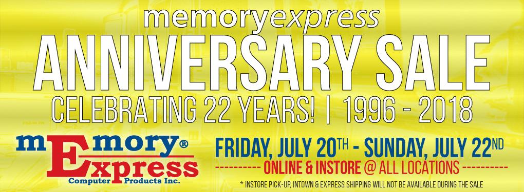 Memory Express 22nd Anniversary Sale (Jul 20-22)