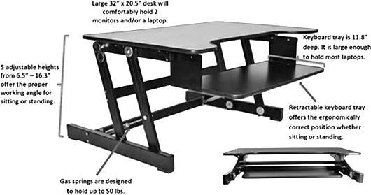 Rocelco Adjustable Desk Riser Black W Sliding Keyboard