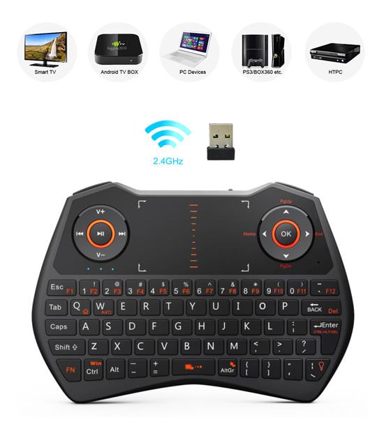 riitek rii i28 multi function wireless mini keyboard w touchpad black at memory express. Black Bedroom Furniture Sets. Home Design Ideas