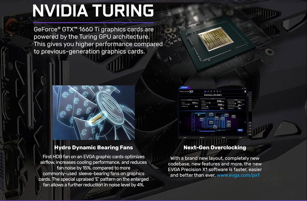 EVGA GeForce GTX 1660 Ti XC GAMING 6GB PCI-E w/ DVI, HDMI