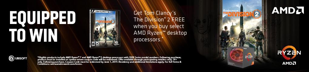 Get The Division 2 FREE when you buy select AMD Ryzen desktop processors (Jan 9 - Apr 6, 2019)