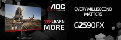 AOC G2590FX 144hz Sleek FreeSync / G-SYNC Compatible Gaming LED Monitor