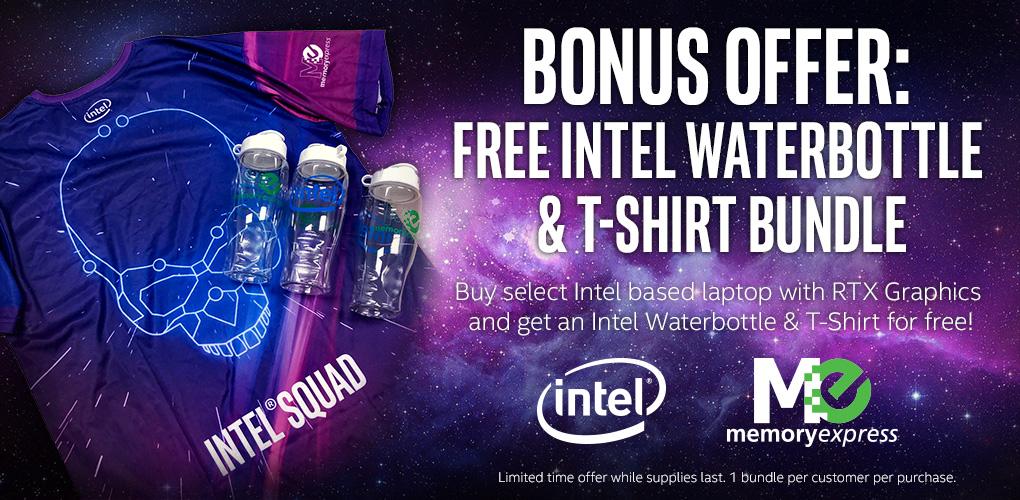 Intel Bonus Offer: FREE Intel Waterbottle & T-Shirt Bundle with select laptops! (Oct 11 - Nov 30, 2019)
