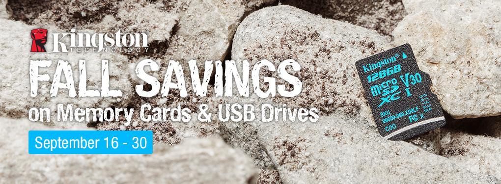 Kingston Fall Savings - Save on Memory Cards & USB Drives (Sep 16 - 30, 2019)