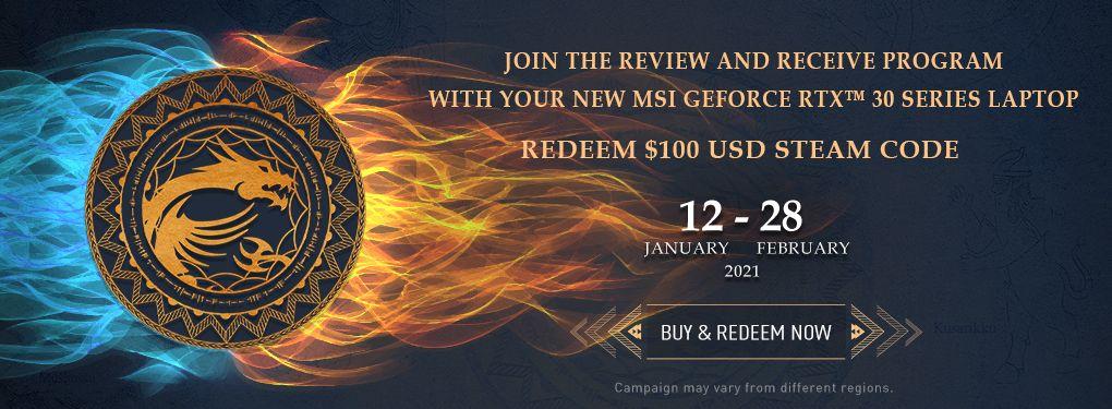 MSI RTX30 Steam Code Promo  (Jan 21 - Feb 28, 2021 )