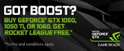 Got Boost? Buy GeForce GTX 1050, 1050 Ti, or 1060. Get Rocket League free.* (May 30 - Jul 31)
