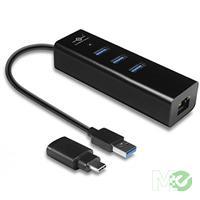 MX66824 VLink USB 3.0 3-Port Hub w/ Gigabit Ethernet Adapter