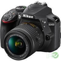 MX68967 D3400 Dual Lens Hard Bundle w/ D3400, 18-55mm f/3.5-5.6G VR II, 55-200mm f/4-5.6G ED VR II, Dual EN-EL14a Batteries, Gadget Bag