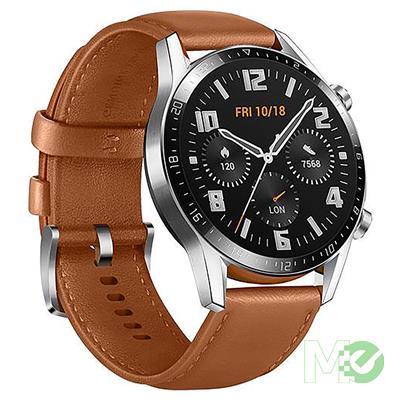 MX00112642 Watch GT 2 Classic 46mm - 2 Week Battery, Leather Strap, Bluetooth Calling, 5ATM, GPS (Canada Warranty)