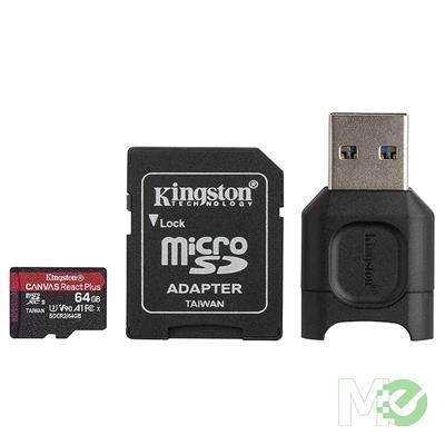 MX00113485 Canvas React Plus Class 10 UHS-II A1 microSDXC Memory Card, 64GB w/ MobileLite Plus microSD Reader, Adapter