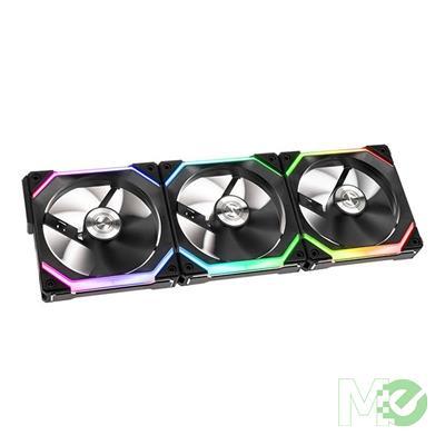 MX00113669 Uni Fan SL120,  Modular RGB 120mm Fan, 3 Pack w/ Fan Controller -Black