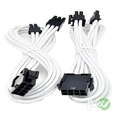 MX00116195 Premium Sleeved 8-Pin (6+2) PCI-E GPU Power Extension Cable, White, 1.5ft