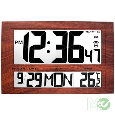 MX58517 Jumbo Digital Atomic Wall Clock, Wood Tone