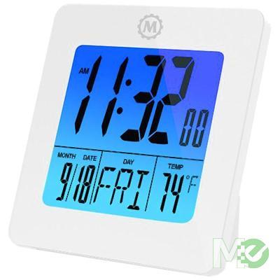 MX63568 Digital Desktop Clock, White w/ Nightowl Backlight