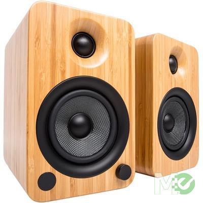 MX70458 YU4 Powered Bookshelf Speakers w/ Bluetooth, Bamboo