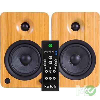 MX70461 YU6 Powered Bookshelf Speakers w/ Bluetooth, Bamboo