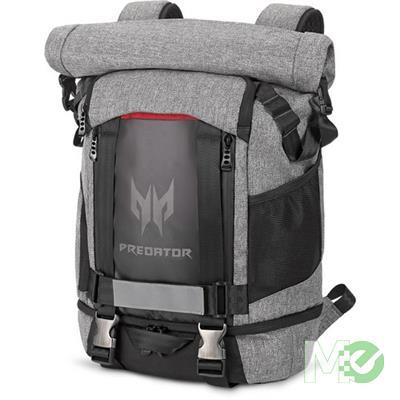 MX70762 Predator Gaming Rolltop Backpack, 15.6in, Grey/Black