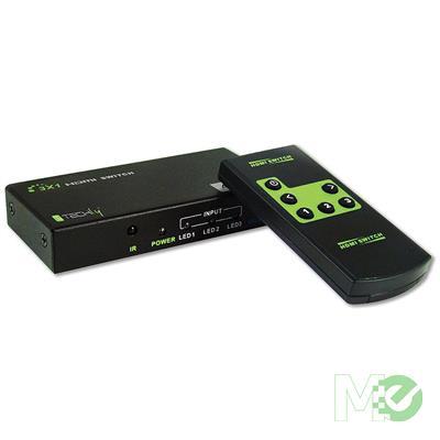 MX71848 3-Port 4K HDMI Audio/Video Switch w/ Remote Control, Black