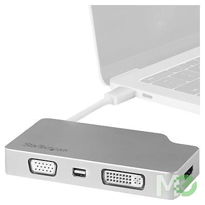 MX72146 USB Type-C 4-in-1 Video Adapter, w/ mini DisplayPort, HDMI, DVI-D & VGA ports, Aluminum
