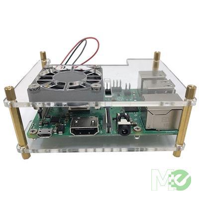 MX75744 Acrylic Stackable Raspberry Pi Case w/ 40mm Fan, Dual Heat Sinks