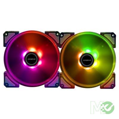 MX77123 Crown AC 140 ARGB LED 140mm Fan Kit, 2 Pack w/ RGB LED Controller