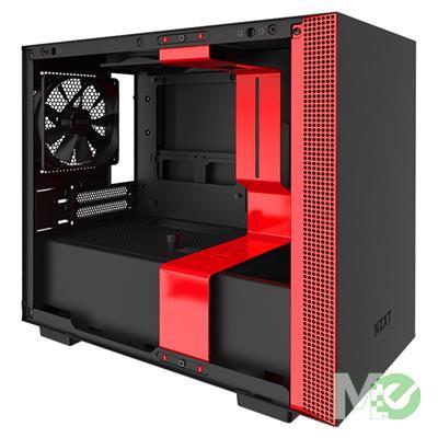 MX79030 H210 Mini ITX Case w/ Full Sized Tempered Glass Panel, Black / Red