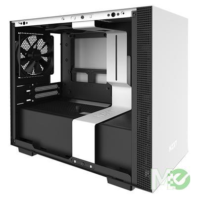 MX79034 H210i Mini ITX Case w/ Full Sized Tempered Glass Panel, Smart Device V2, NZXT CAM App, Addressable LED Strip, Black / White