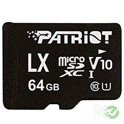 MX79495 LX Series microSDXC UHS-I V10 Memory Card w/ Adapter, 64GB