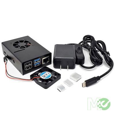 MX79605 RAS-PCS14PWR-BK Aluminum Raspberry Pi 4 Case w/ 40mm Fan, Heatsinks, Power Supply & Installation Kit, Black