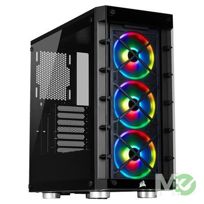 MX79655 iCUE 465X RGB Airflow Tempered Glass Mid Tower Smart Case w/ 3x LL120 RGB 120mm Fans, 6 Port RGB Controller, Black