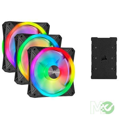 MX79685 QL RGB Series QL120 ARGB LED 120mm PWM Cooling Fan, 3-Pack w/ Lighting Node CORE Controller