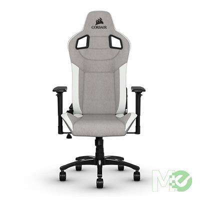 MX80334 T3 Rush Fabric Gaming Chair Gray w/ White